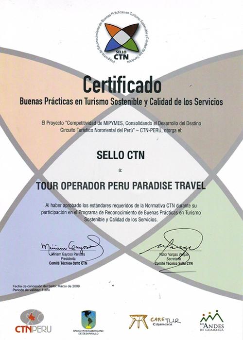 certificato CTN Peru Paradise Travel